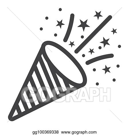 confetti popper line icon new year and christmas xmas sign vector graphics a linear pattern on a white background eps 10