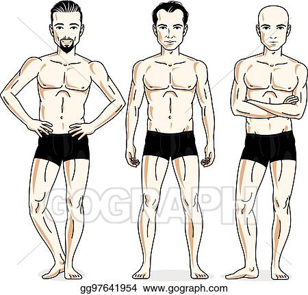 Vector Art Confident Handsome Men Group Standing In Black Underwear Vector Diversity People Illustrations Set Athletic Man With Perfect Body Clipart Drawing Gg97641954 Gograph