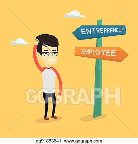 Vector Art Confused Man Choosing Career Pathway Eps Clipart Gg91853641 Gograph
