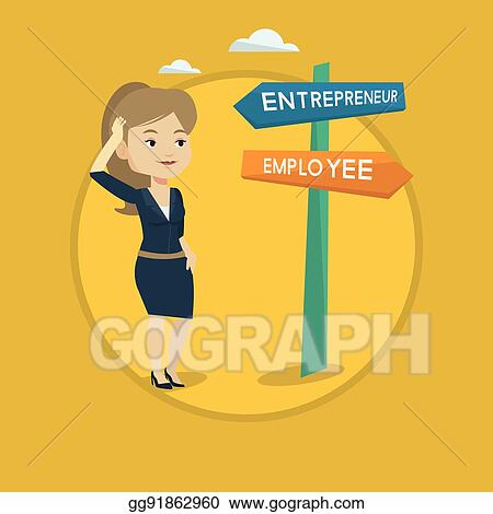 Vector Clipart Confused Woman Choosing Career Pathway Vector Illustration Gg91862960 Gograph