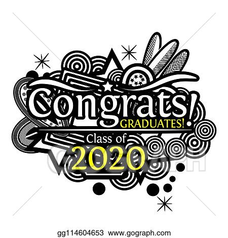 Graduation Clip Art 2020.Vector Illustration Congrats On Graduation Class Of 2020