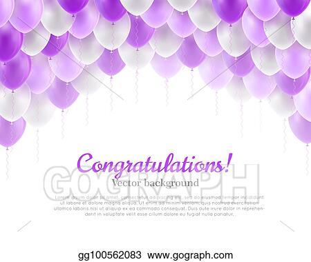 stock illustrations congratulation banner violet flying balloons