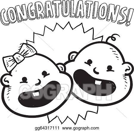EPS Illustration Congratulations New Baby Sketch Vector Clipart