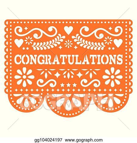 Eps illustration congratulations papel picado vector design congratulations papel picado vector design greeting card mexican paper decoration with pattern m4hsunfo