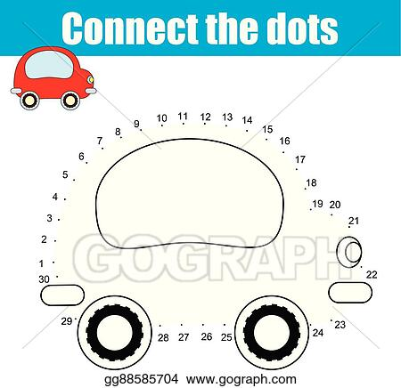 Clip Art Vector - Connect The Dots Numbers Children Educational Game.  Printable Worksheet Activity. Stock EPS Gg88585704 - GoGraph