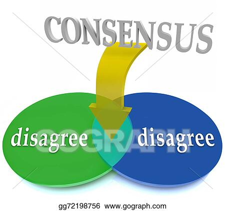 Clip Art Consensus Venn Diagram Two Opposing Views Disagree