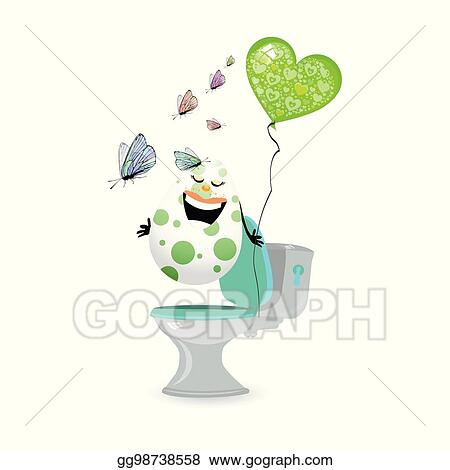 Vector Art Constipation Concept Relief Funny Eggs Clipart Drawing Gg98738558 Gograph