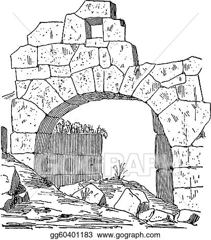 Construction Of A Fortification Door Made Stone Masonry Arch Vintage Engraving