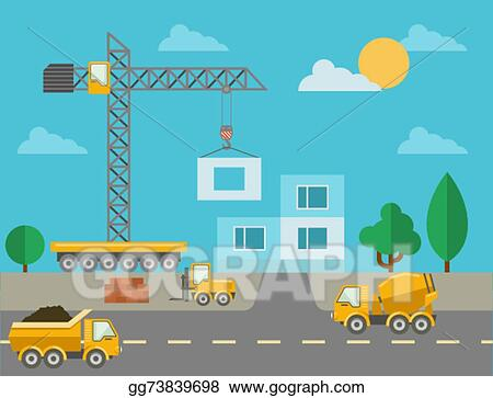 Clip Art Vector - Construction process with construction machines