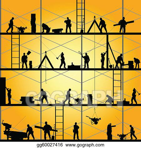 vector illustration construction worker silhouette at work vector