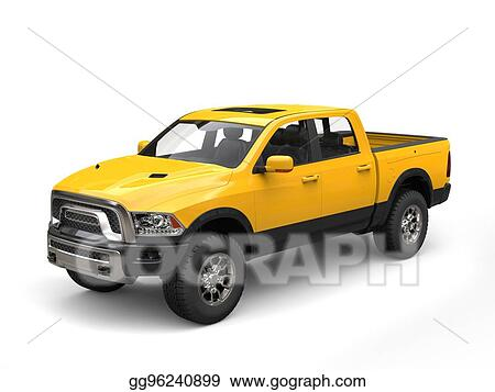 Drawing Construction Yellow Modern Pick Up Truck Clipart
