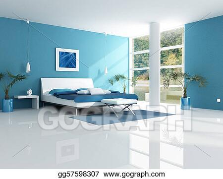 Stock Illustration - Contemporary blue bedroom. Clipart ...