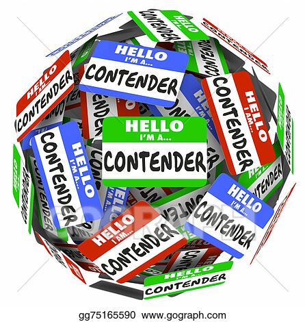 drawings contender word name badge tag sphere compete job win game