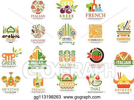 Vector Illustration - Continental cuisine logo design set
