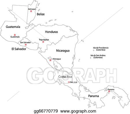 Vector Illustration - Contour central america map. Stock ...