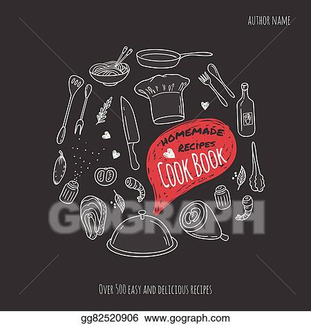 Cook Book Cover With Hand Drawn Food Illustrations Culinary Background