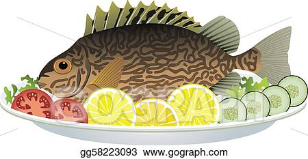 Vector Stock Cooked Fish And Raw Vegetables On A Plate
