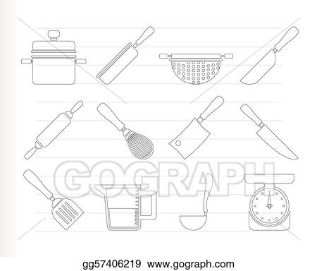 vector art cooking equipment and tools icons eps clipart