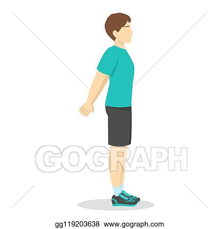 Vector Illustration Cool Down After Workout Exercise Stretching Pose For Chest Stock Clip Art Gg119203638 Gograph