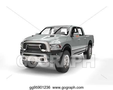Stock Illustration Cool Silver Modern Pick Up Truck