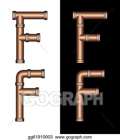 Stock Illustration Copper Tubing Fittings 3d Letter F Clipart