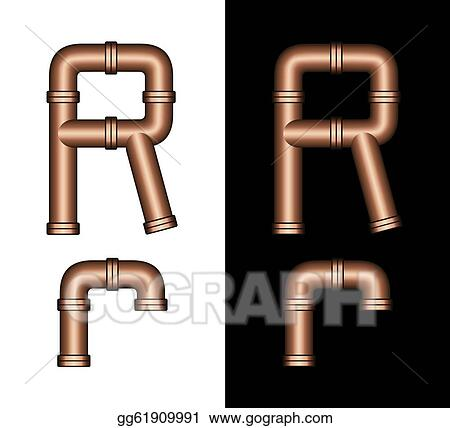 Stock Illustrations Copper Tubing Fittings 3d Letter R Stock