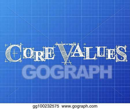 Vector art core values word blueprint clipart drawing gg100232575 core values word blueprint malvernweather Gallery