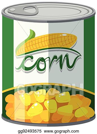 eps vector corn in aluminum can stock clipart illustration