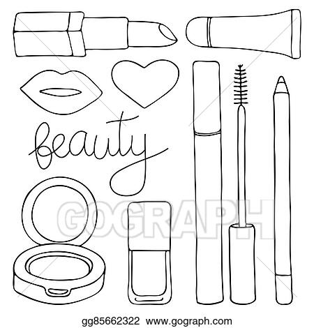 Vector Stock Cosmetics Or Make Up Set Hand Drawn Cartoon Collection Of Cosmetic Products Lip Gloss Lipstick Mascara Pencil Cushion Lips Nail Polish Doodle Drawing Vector Illustration Clipart Illustration Gg85662322 Gograph