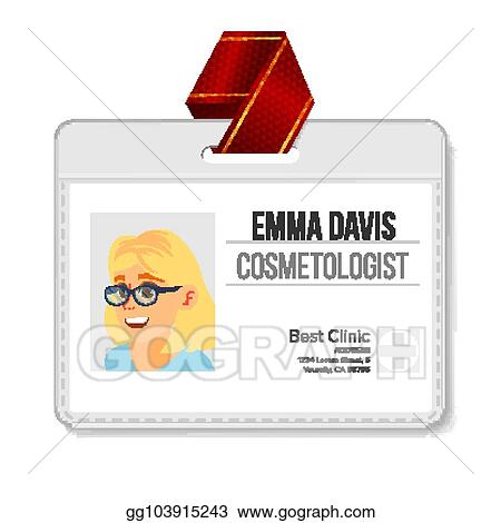 vector art cosmetologist identification badge vector woman name
