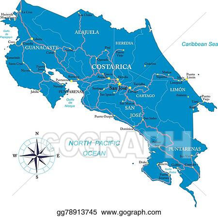 Vector Illustration - Costa rica map. EPS Clipart gg78913745 - GoGraph