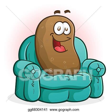 vector illustration couch potato cartoon character eps clipart rh gograph com couch potato clipart free couch potato clipart