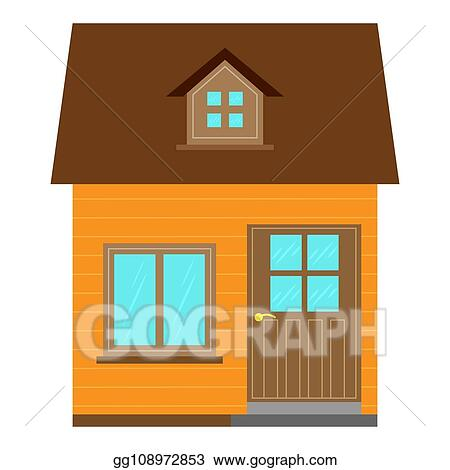 Vector Art - Country house design with a gable roof, flat ... on