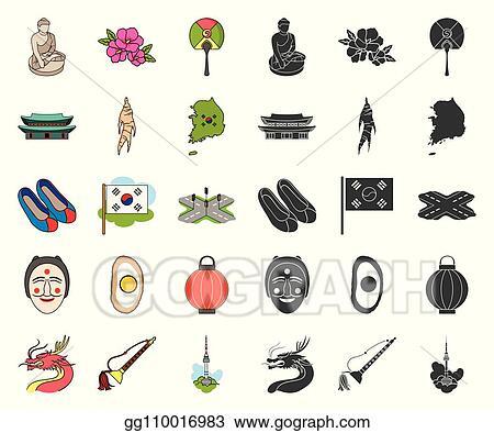 Vector Illustration - Country south korea cartoon, black