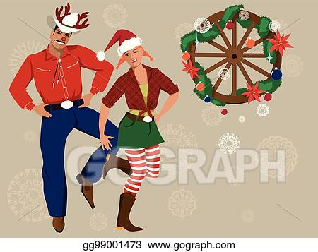 Country Christmas Background.Eps Vector Country Western Christmas Background Stock