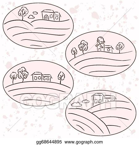 Vector Art Countryside Drawings Houses Landscape Labels Clipart