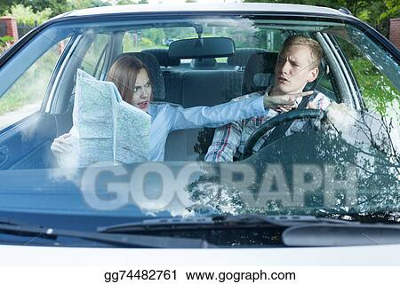 Stock Images - Couple fighting over driving directions ... on car services, car trip, car history, car world bugatti veyron, car road map, car map parts, car driving map,