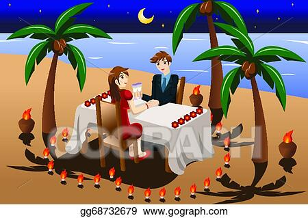 Clip Art Vector Couple Having Romantic Candle Light Dinner Stock Eps Gg68732679 Gograph