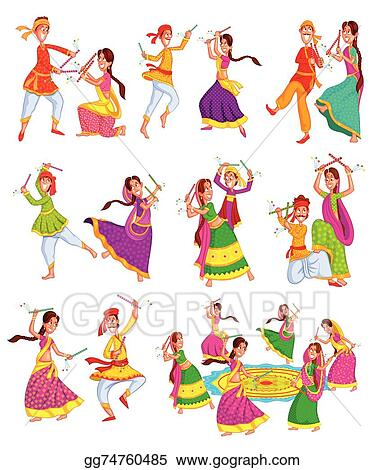 Vector Stock Couple Performing Dandiya Clipart