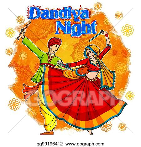 Eps Vector Couple Playing Dandiya In Disco Garba Night