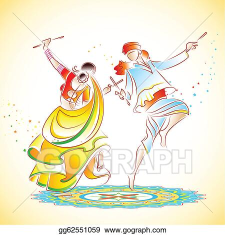 Vector Illustration Couple Playing Dandiya Stock Clip