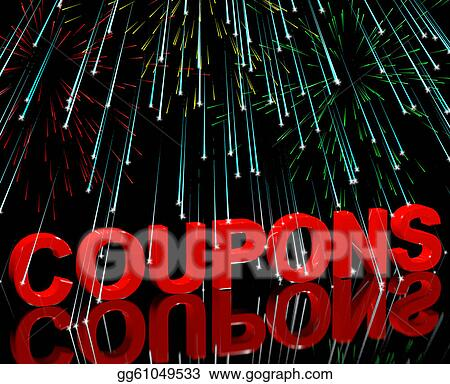 Stock Illustration Coupons Word With Fireworks Shows Vouchers For