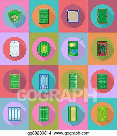 Court playground stadium and field for sports games flat icons vector  illustration 3927d776ab7e7