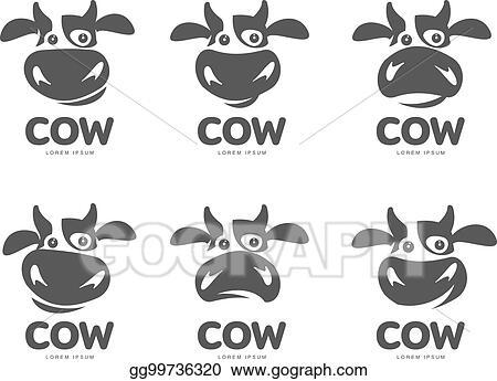 eps illustration cow logo template vector clipart gg99736320