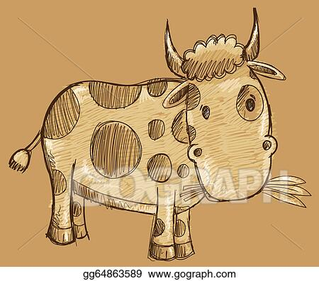 Vector Stock - Cow sketch doodle drawing vector  Clipart