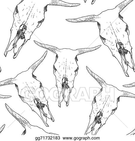Vector Art Cow Skull Pattern Clipart Drawing Gg71732183