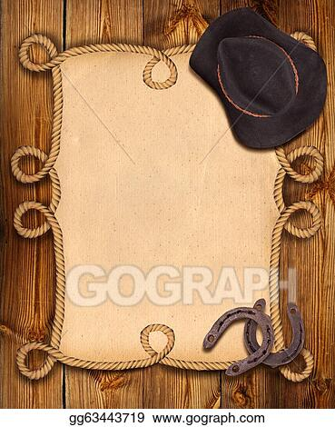 Stock Illustration - Cowboy background with rope frame and western ...