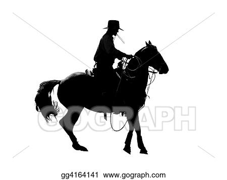 stock illustration cowboy silhouette clipart drawing gg4164141 rh gograph com cowboy silhouette clip art images cowboy silhouette clip art images