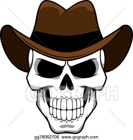31137e57758 Clip Art Vector - Cowboy skull character with brown felt hat. Stock ...