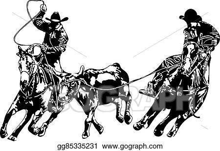 vector stock cowboy team ropers stock clip art gg85335231 gograph rh gograph com team roping clipart free Goat Tying Clip Art